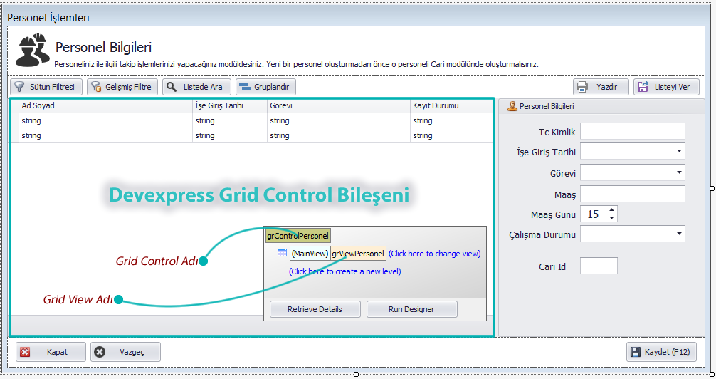 Devexpress GridControl GridView